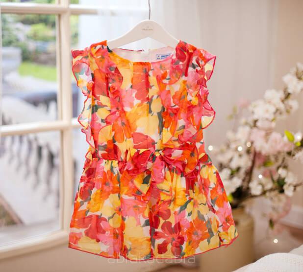 Sukienka dla dziewczynki żołte kwiaty 3929