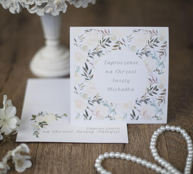 Zaproszenie Na Chrzest Vanila Flowers Z Kopertą Drukowaną