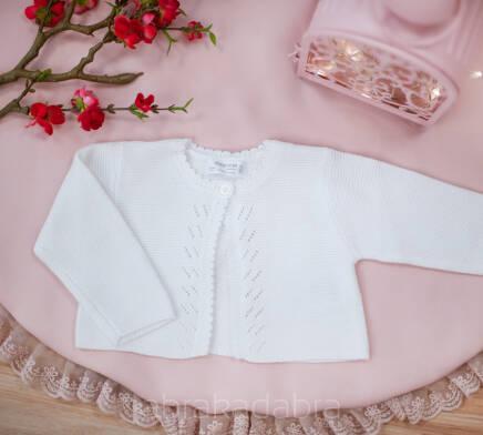 eaf8098294 Biały ażurowy sweterek dla dziewczynki