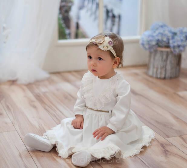 9e40ddddea Sukienka do chrztu dla dziewczynki Elena w kolorze ecru