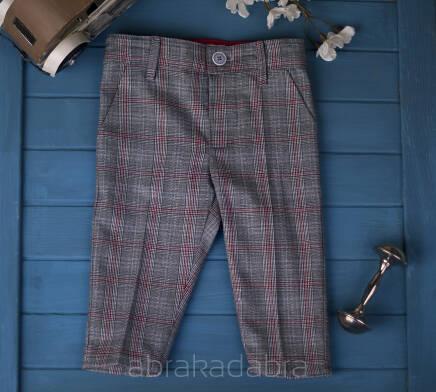 spodnie Kubuś w szarą kratę